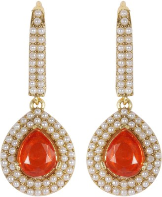 Muchmore Designer Partywear Pearl Alloy Dangle Earring