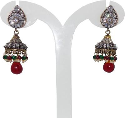 Anjan Charming Traditional Golden victorian Style Cubic Zirconia Brass Jhumki Earring