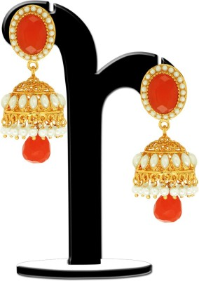 Spargz Earring With Synthetic Stone Ruby, Pearl Brass Jhumki Earring