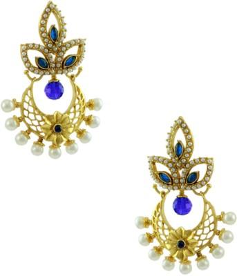 Orniza Rajwadi Earrings in Blue Color and Golden Polish Brass Dangle Earring