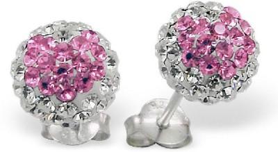 Maayin Silver Ball-Pink Crystal Silver Stud Earring