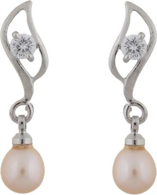 Janki Jewellers Leaf Shape Pearl Alloy Drop Earring