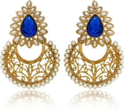 Donna Ethnic Blue Dew Crystal Alloy Chandbali Earring