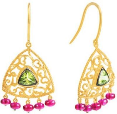 VelvetCase Trillion Gemstone Earrings Peridot Silver Drop Earring