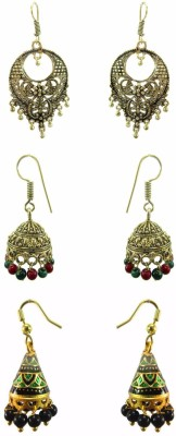 Chhayamoy Oxidised Golden Jhumki & Meenakari Combo Alloy Earring Set