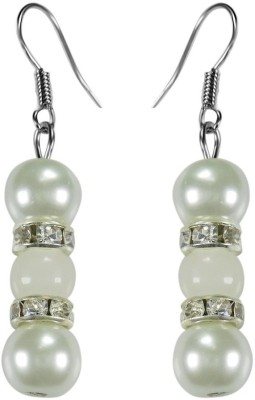 Crystals & Beads Opal White Colour Round Moonball & White Pearl Bead with Diamond Spacer Acrylic, Glass, Crystal Dangle Earring
