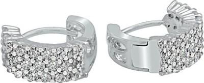 The Fine World White With Glittering Stones Zircon Metal Huggie Earring