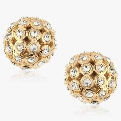 Shamoda Trendy Pearl & Gold Studded Metal Stud Earring