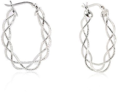 LeCalla White Wire Designer Silver Sterling Silver Hoop Earring