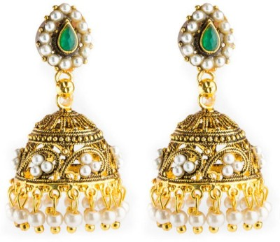 CTW Traditional Bridal With Beads Bollywood Brass Jhumki Earring