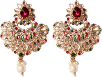 Triumphin Light Weight Shine Crystal Brass Chandbali Earring