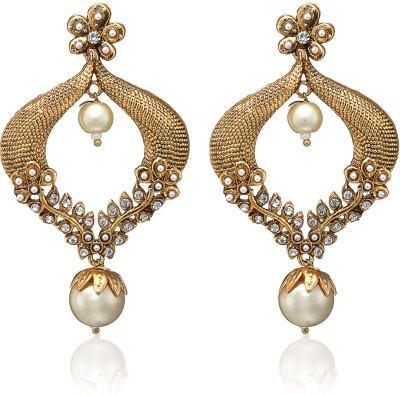 Arum White and Golden Alloy Drop Earring
