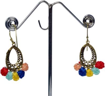 Angelfish Designer Multicolour Thread work with German Silver work Metal Dangle Earring