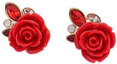 Jewel Touch Exquisite Valentine Rose Shape Design Alloy, Acrylic Stud Earring