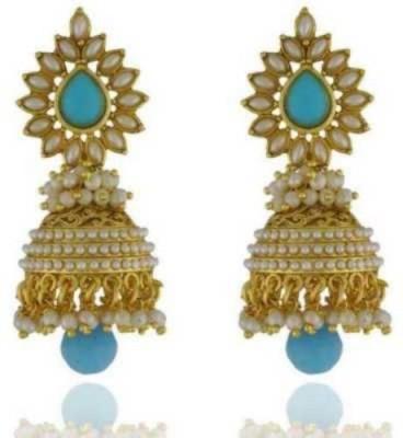 Happyshoppi Good Looking Pearl Brass, Copper Jhumki Earring
