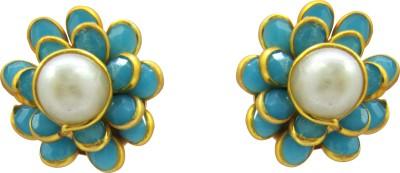 Rishab International Imitation Jewelry Pearl Brass Stud Earring