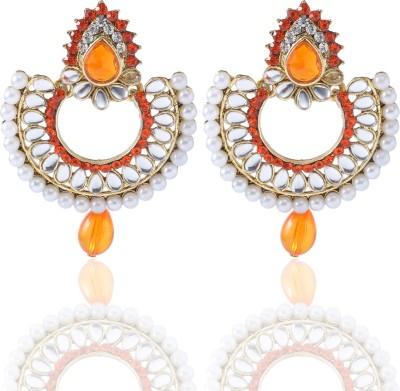 Castle Street Orange Alloy Chandbali Earring