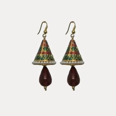 Indianpasand Coneshaped With Merron Bead Alloy Dangle Earring
