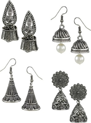Zaveri Pearls Pack Of Four Finely Detailed & Designer Oxidised Zinc Jhumki Earring at flipkart