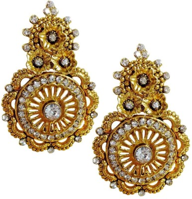 AsiaCraft Gold Plated Stones Metal Drop Earring