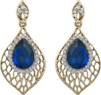 Pankh Blue Bead Topaz Brass Drop Earring