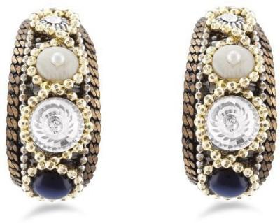 Jazz Jewellery Beautiful American Diamond & Pearl Earrings in Multi Colour Alloy Drop Earring