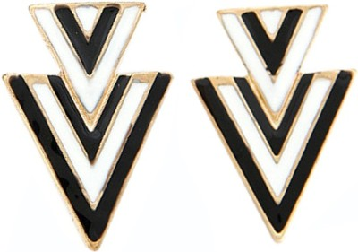 Young & Forever Monochrome Inverted Triangle Alloy, Enamel Stud Earring