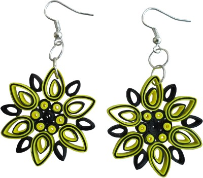 Designer's Collection Quilled Yellow & Black Designer Paper Drop Earring
