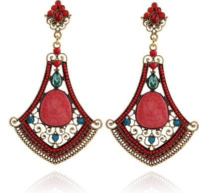 Insia Empress Ruby Alloy Dangle Earring