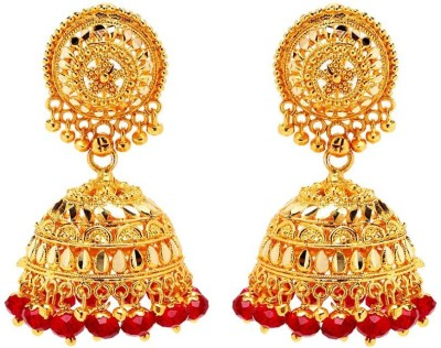 GoldNera Red Bead Attractive Alloy Jhumki Earring