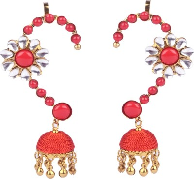 Trinketbag Red flower bead Alloy, Glass Cuff Earring