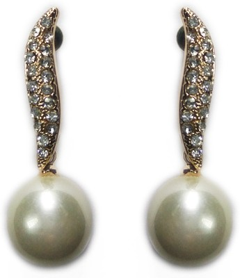 000 Fashions Gold Coated Leaf Crystal n Pearl Drop Earrings Crystal Alloy Drop Earring