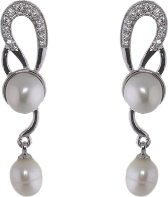 Jewel Planet Silver Plated Pearl Alloy Drop Earring