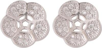 TUAN flower shaped Cubic Zirconia Sterling Silver Stud Earring