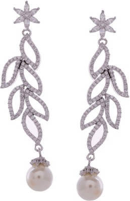 Gehnamart Leaf Sparkle Cubic Zirconia Alloy Drop Earring