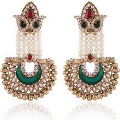 I Jewels Meenakari Pearl Alloy Chandbali Earring