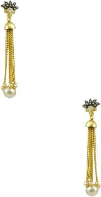 Orniza Victorian Earrings in Golden Color and Black Gold Polish Brass Tassel Earring