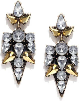 Oomph Gold & White Crystal Fashion Jewellery for Women, Girls & Ladies Metal Drop Earring