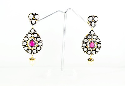 Chouhan Stylish blackissh pink latkan Metal Drop Earring