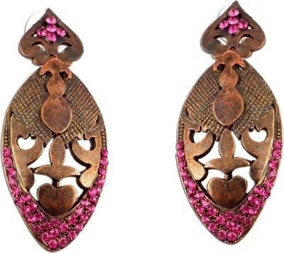 The Fine World Copper Metal Zircon Metal Drop Earring