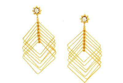 FASHION ERA Golden charming Metal Drop Earring