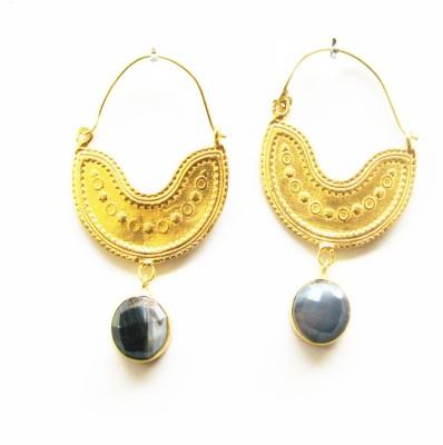 Gharaz semi precious Gold plated Agate Brass Hoop Earring