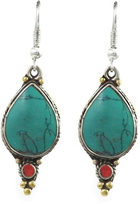 Miska Silver Designer Coral, Turquoise German Silver Dangle Earring at flipkart