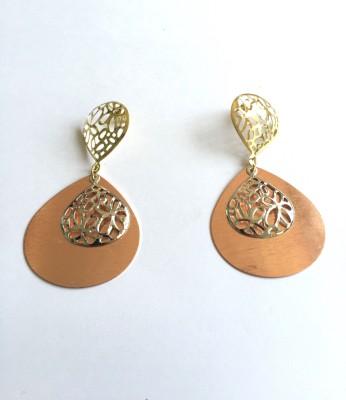 Arkina Diamonds Bronze Petal Brass Drop Earring