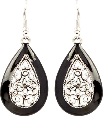 Jewel Funk Black Coloured with intricate silver work Alloy Dangle Earring