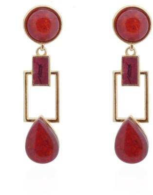 Amroha Crafts Squarish Crown Blooming Maroon Earrings Metal Drop Earring