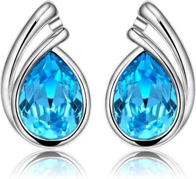 Yellow Chimes Elegant Denim Swarovski Crystal Alloy Stud Earring