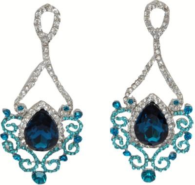 WoW Blue Cubic Zircon Crystal Drop Earring