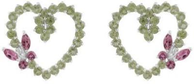 VelvetCase Heart Shaped Two color Gemstone Earrings Tourmaline Silver Stud Earring