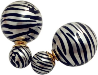 Amour New Double Sided Zebra Print Alloy Stud Earring